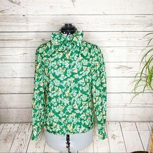 Vtg Blouse Bow Secretary Green Floral Handmade